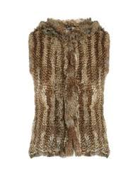 designer second kã ln open front rabbit fur gilet meteo by yves salomon