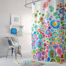 Pink Green Shower Curtain Colorful Shower Curtain Set Inner Circle Bubbles Abstract
