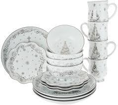 christmas dinnerware temp tations metallic christmas or winter 16pc dinnerware set
