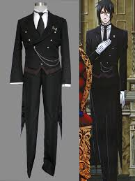 Black Butler Halloween Costumes Black Butler Sebastian Michaelis Black Tuxedo Cosplay Costume