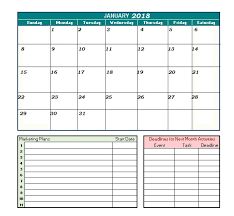 january 2018 calendar printable calendar 2018