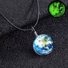 glass star pendant necklace images Retro galaxy glass ball pendant necklace glow in the dark star jpg