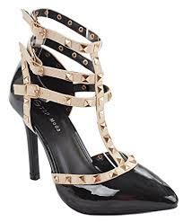 high heels designer designer rivet studded ankle cuff high heel dress