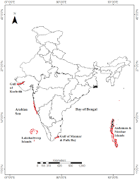 Bay Of Bengal Map 1 Map Showing The Distribution Of Coral Reefs In India