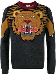 kenzo multicolor intarsia tiger sweater in grey modesens
