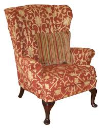 Wing Chair Slipcover Pattern Brown Cream Fabric Back Wing Chair With Floral Pattern Combined
