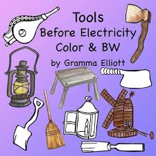 tools before electricity clip art color and black line