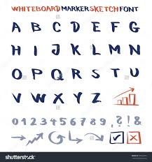 whiteboard marker sketch font vector alphabet with numbers and