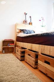 Wooden King Size Bed Frame Pallet Wood King Size Bed With Drawers U0026 Storage U2022 1001 Pallets
