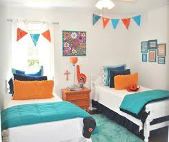 white blue colors covered bedding sheets pink orange colors