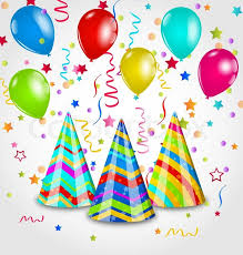 party hats illustration background with party hats colorful balloons