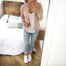 Blush Pink Bomber Jacket Over White Tee Light Wash Ripped Jeans
