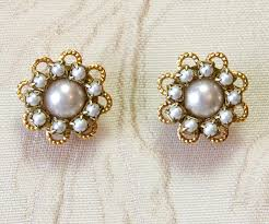 vintage earrings bridal pearl earrings wedding vintage earrings bridal flower