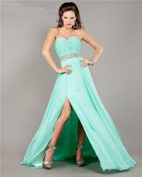 strapless long mint green chiffon ruched prom dress with slit