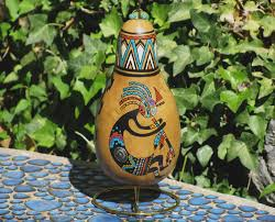 Kokopelli Home Decor by Southwestern Hand Painted Gourd With Stand 950 Kokopelli By