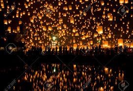 firework lantern sky lanterns firework festival chiang mai thailand loy krathong