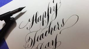 how to write happy teachers day in a simple calligraphy style