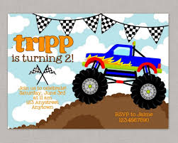 monster invitation monster truck birthday invitations best invitations card