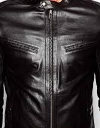 racing biker jacket asos leather biker jacket with racing stripe in black for men lyst