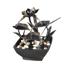 pure garden 10 in 3 tier cascading tabletop fountain with led
