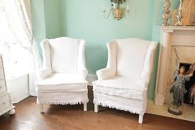 white wing chair slipcover shabby chic wingback chair s vintage bedspread slipcover pair