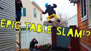 hilarious backyard wrestling table slam reign of terror youtube