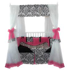 cool canopy bed design for made of wooden with pink curtain