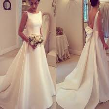 elegant a line simple open back bowknot sweep train wedding