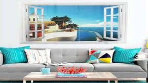 korel large removable beach sea 3d window decal wall sticker home korel large removable beach sea 3d window decal wall sticker home decor exo youtube