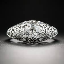filigree engagement ring edwardian 92 carat diamond platinum filigree engagement ring