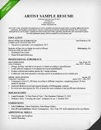 Sample Resume For All Types Of Jobs by Artist Resume Sample U0026 Writing Guide Resume Genius