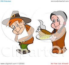 thanksgiving pilgrams cartoon of a native american woman serving a pilgrim thanksgiving