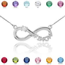 birthstone necklace 14k white gold infinity 1mom cz birthstone necklace