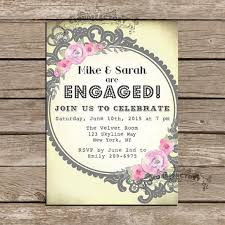 whimsical engagement party invitations yellow gray pink lace