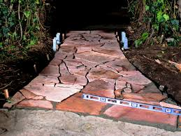 flagstone walkway and trellis gate hgtv
