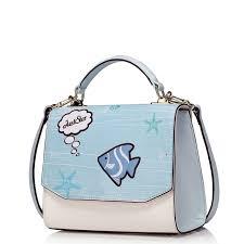 light blue crossbody purse 2016 new women cartoon sea convertible light blue top handle handbag