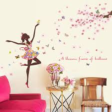 stickers chambre fille feerique fleur fée 3d papier peint fille princesse stickers muraux