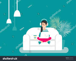 graphic design works at home happy freelancer earphones on sofa stock vector 737459491
