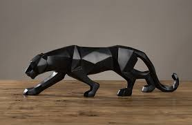 48cm modern abstract black panther sculpture geometric resin leopard