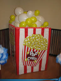 mylar wrapping paper cotton candy snack area popcorn container with balloons made out