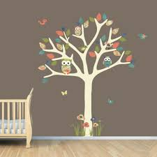 nursery wall decal owl tree art owl art tree wall sticker zoom