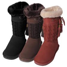 bearpaw womens boots size 11 bearpaw s constantine suede knit sheepskin lined boots