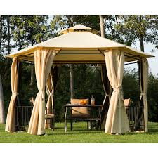 patio furniture gazebo outsunny outdoor hexagon gazebo with insect screen and curtains