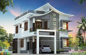 Slanting Curvy Roof House February Kerala Home Design And Floor