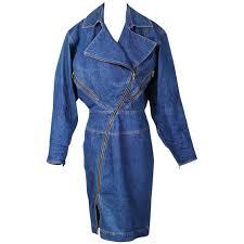 alaia denim coat dress with full length zipper circa 1980s for