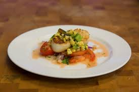 tomato ceviche with pan roasted scallops char grilled corn and