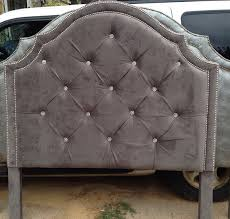 Velvet King Headboard Tufted Headboard Gray Velvet King Queen Full By Harrismarkshome