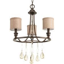 progress lighting flourish 17 75 in 3 light cognac crystal drum chandelier