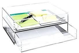 Acrylic Desk Organizer Smoke Grey A4 Size 2 Drawer Acrylic Line Etched Letter Tray Box