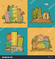 set hand drawn illustrations different houses stock vector